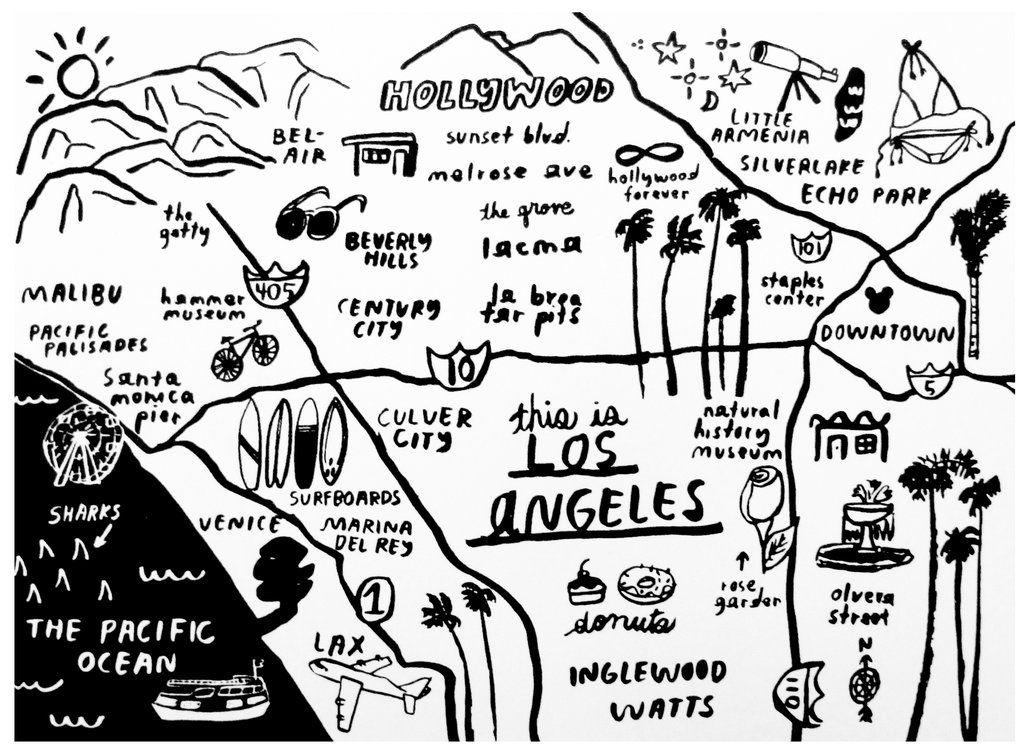 Los Angeles Map Print P9310 Los Angeles Map Print Los Angeles Map Map Print
