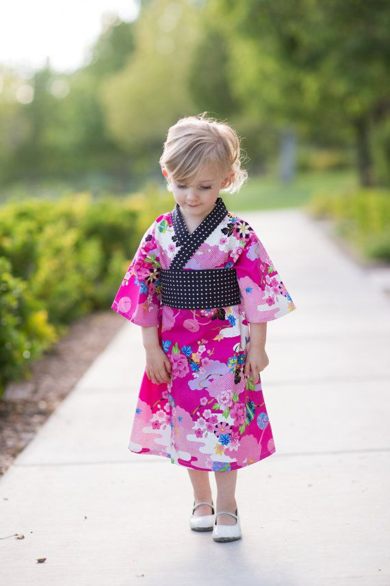 0ea3d7f1f Kimono Dress in FUCHSIA ASIAN Floral Yukata Modern Kimono Girls Baby ...
