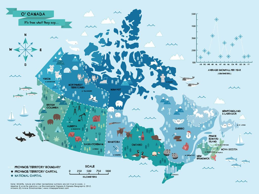 Canada Is A Big Beautiful And Glorious Country That Has A Lot Of Cute Animals This Map Using Data From Environment Canada Travel Canada Map Illustrated Map