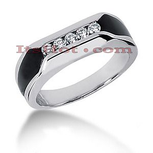 available in yellow gold $1100 14K Gold Round Diamond Mens Wedding Ring 0.25ct