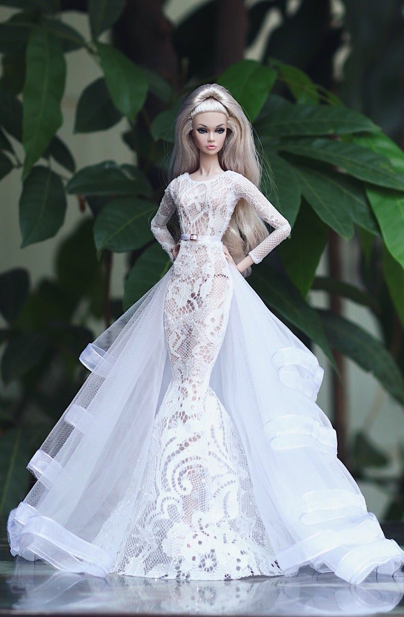 White Bridal Dress 2 In 2020 Barbie Wedding Dress Doll Wedding Dress Barbie Bridal