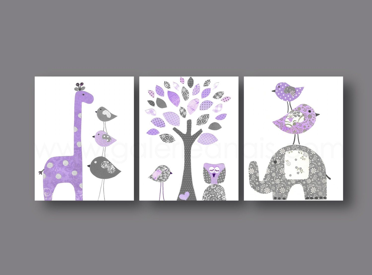 Elephant nursery wall art print mom baby dad by rizzleandrugee - Baby Nursery Art Nursery Wall Art Nursery Print Kids Art Giraffe Elephant Tree Birds Owl Purple Gray Set Of Three Prints