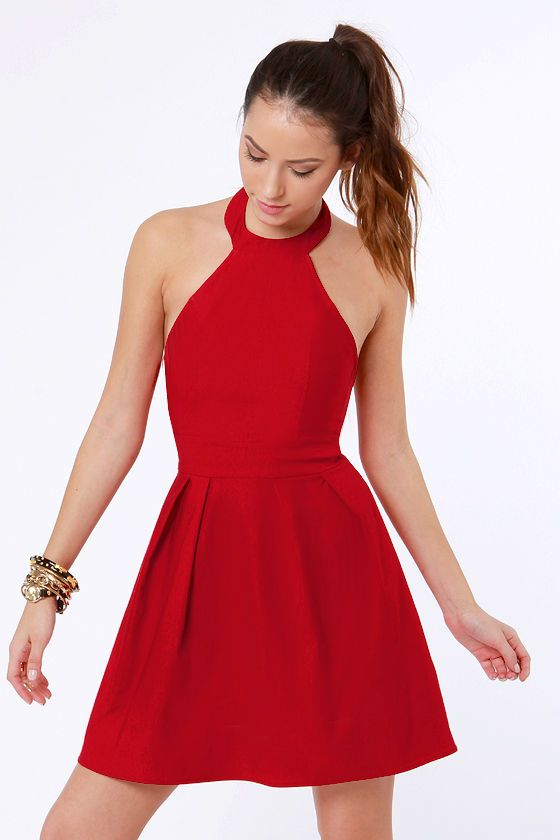139f1d5f9 Floating on Flare Red Halter Dress