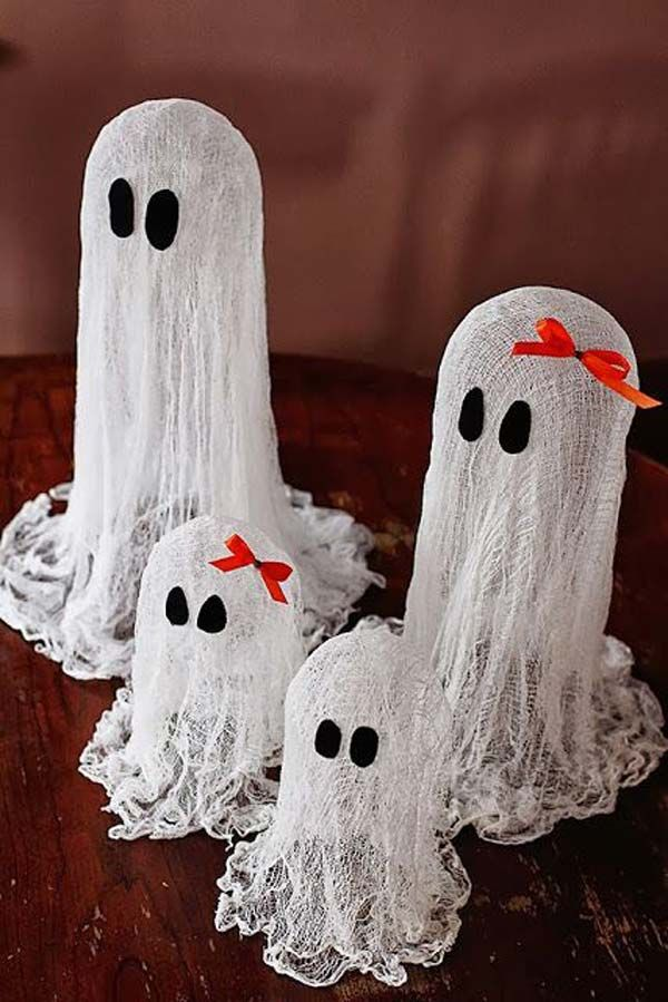 Floating Cheesecloth Ghost - 42 Last-Minute Cheap DIY Halloween - make halloween decoration