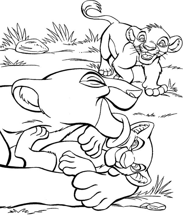 The Baby Lions Playing With Mom Coloring Pages