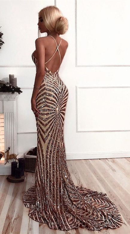 6d4d7646d00 Sexy V Neck Straps Mermaid Rose Gold Sequins Long Evening Dress in ...