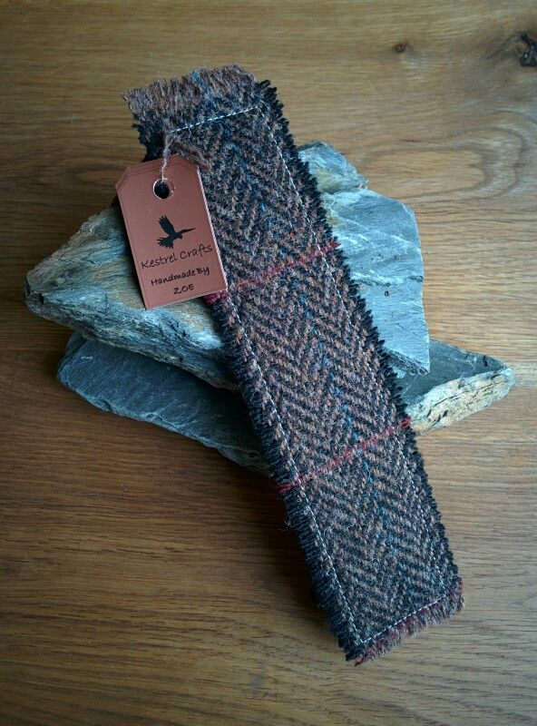 Handmade Bookmark made from Harris Tweed fabric - £3.49 www.kestrelcrafts.com