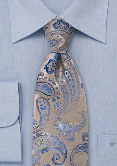 Krawatte Paisleys beige blau