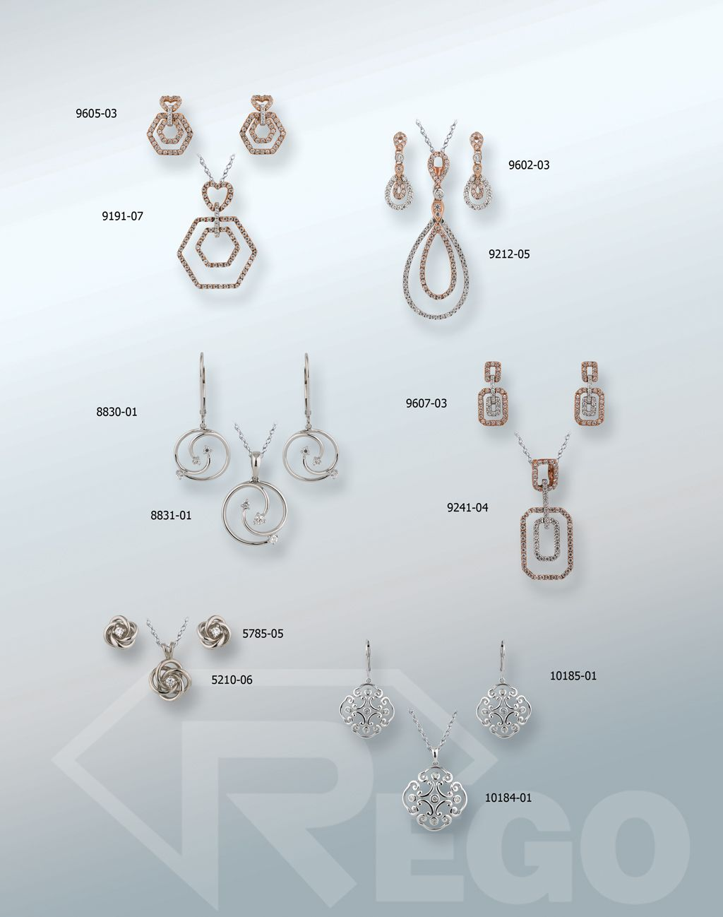 Designs by Rego rose and yellow gold diamond earring and pendant sets