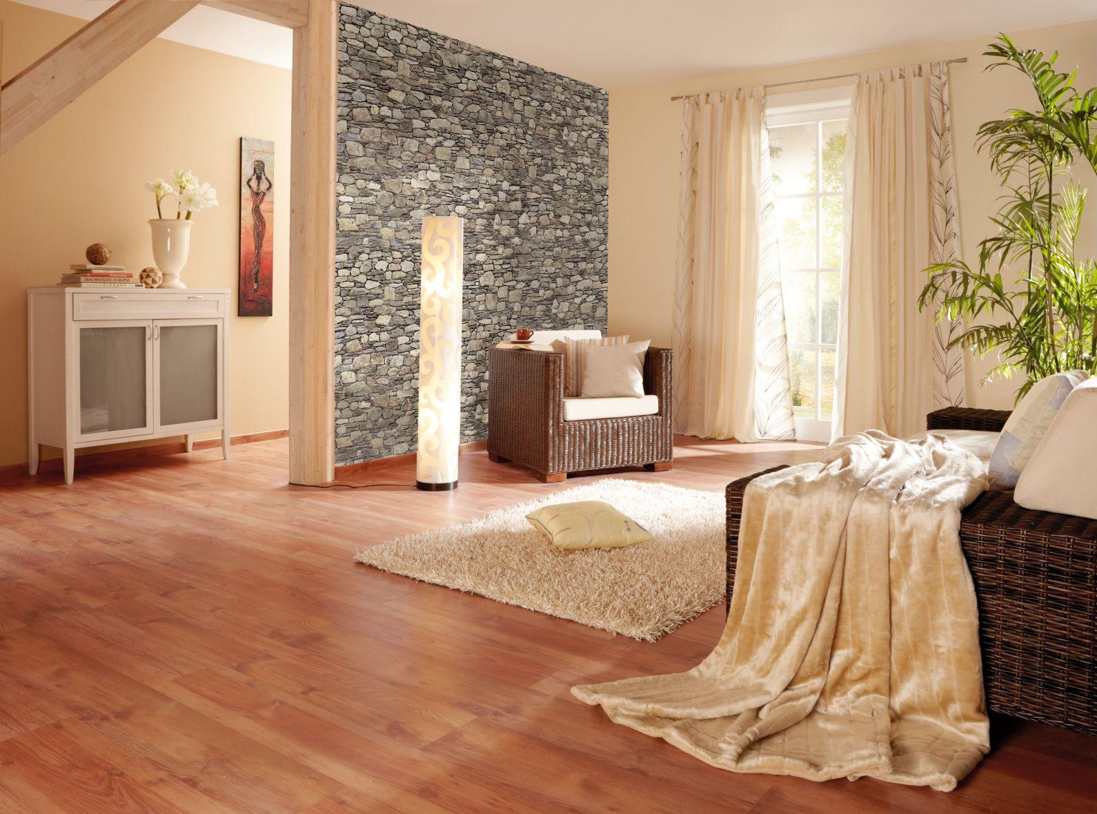 Hochwertig #natur #beige #Wohnzimmer #Steintapete #Laminat