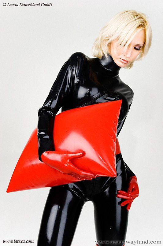Black Latex Catsuit Red Latex Pillow Vinylology101