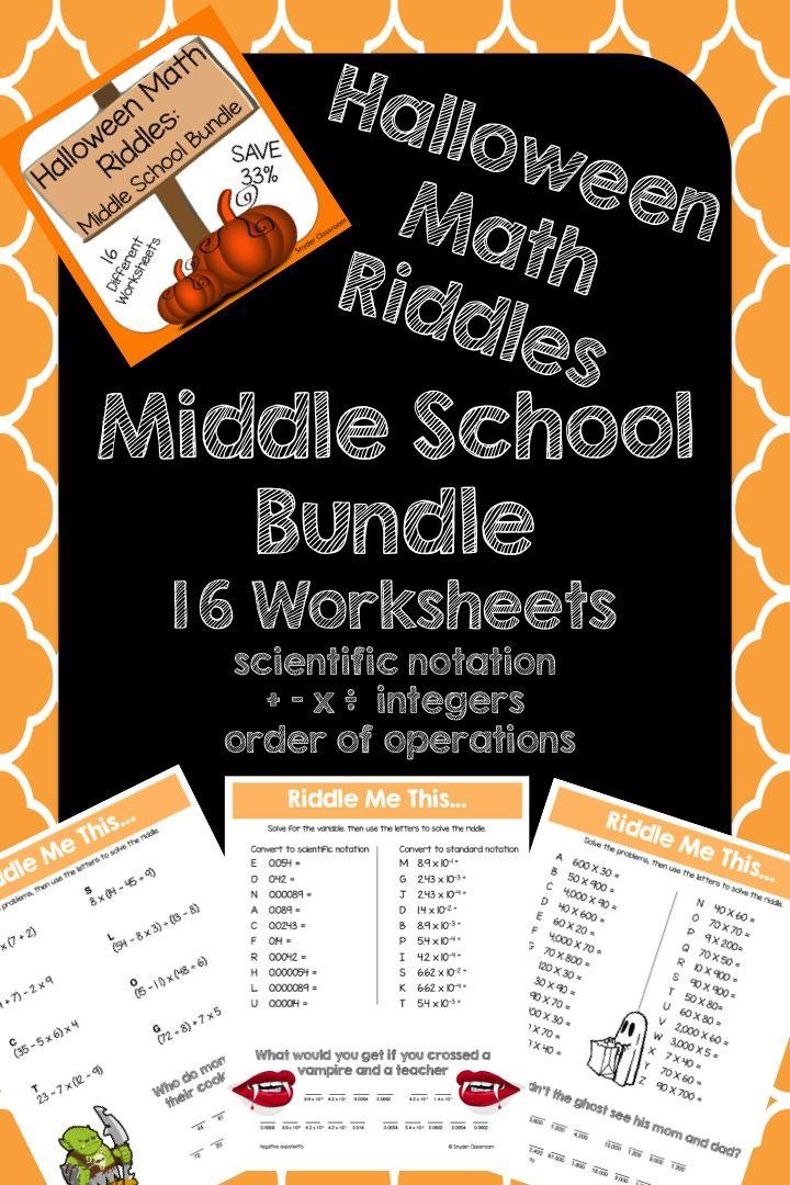 Halloween Math Middle School Math Riddles Math, Math