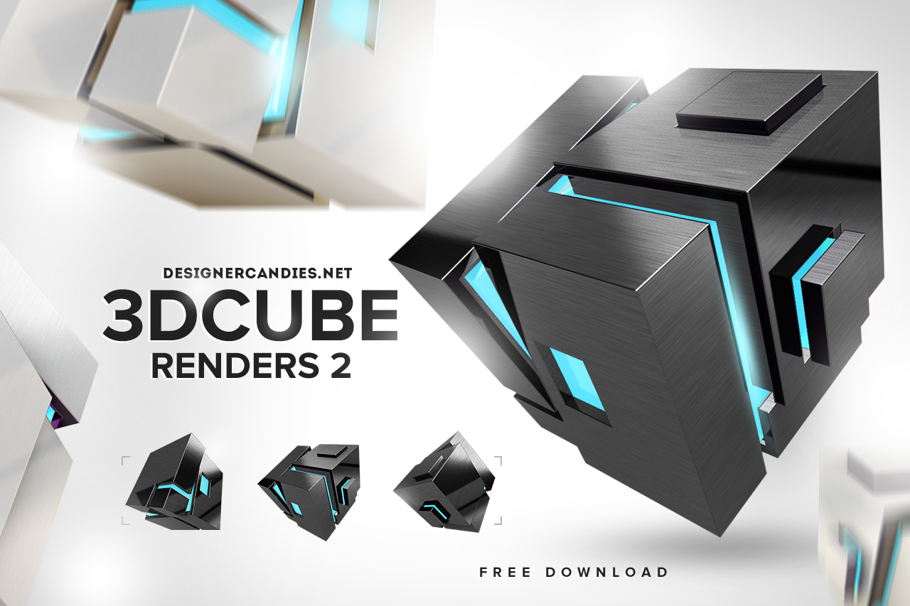 Stylish 3D Cube Renders Pack 2 | Various graphic resources
