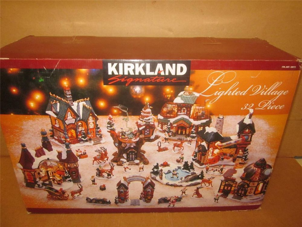 Kirkland Signature Lighted Christmas Santa\'s Village 32 pieces Mint ...