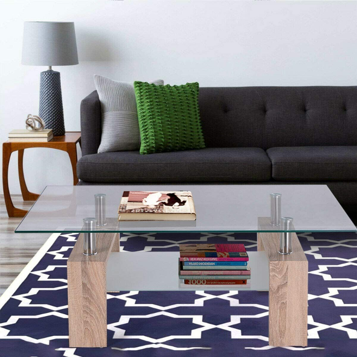 Tangkula Glass Coffee Table Modern Simple Style Rectangular Wood Legs End Side Table Living Room Home Fur Living Room Side Table Living Room Table Living Table [ 1200 x 1200 Pixel ]