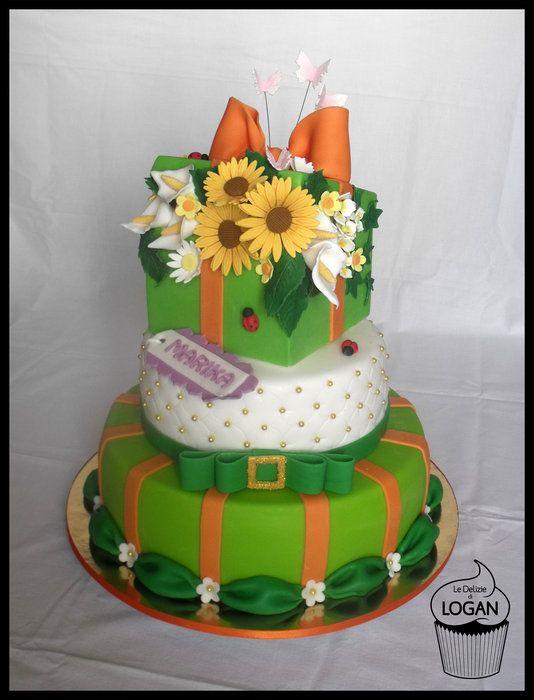 Torta pacco con fiori - by ledeliziedilogan @ CakesDecor.com - cake decorating website