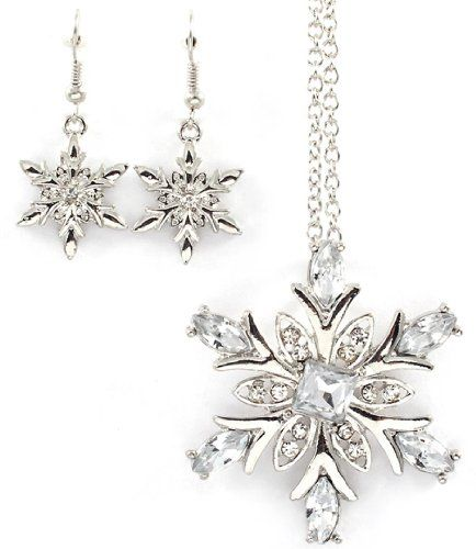Crystal Snowflake Necklace Earrings Set Bk Clear Rhodium Winter Ice Recycle Http