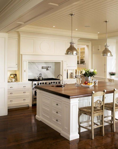 Walnut Island Top White Kitchen Design Kitchen Island Tops Home Decor Kitchen