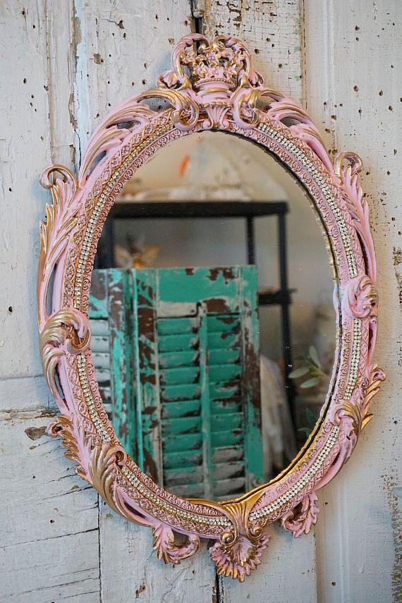 Ornate pink framed mirror wall hanging gold accents rhinestone trim ...