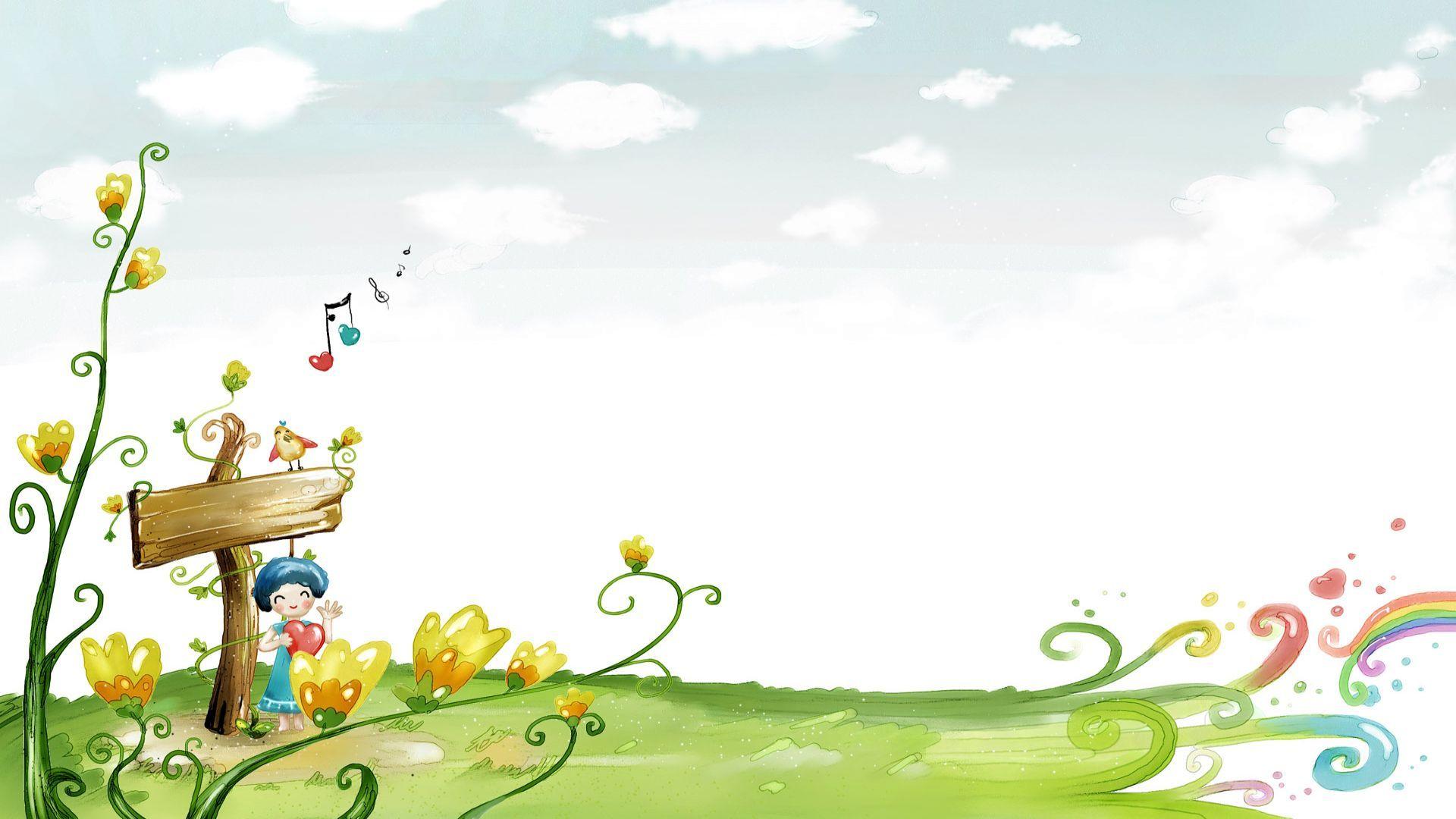 Happy Spring Day 1920x1080 Hd Wallpaper Cartoon Background Spring Illustration Cartoon Wallpapers