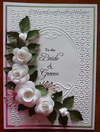 Handcrafted by Helen White Roses Wedding Card