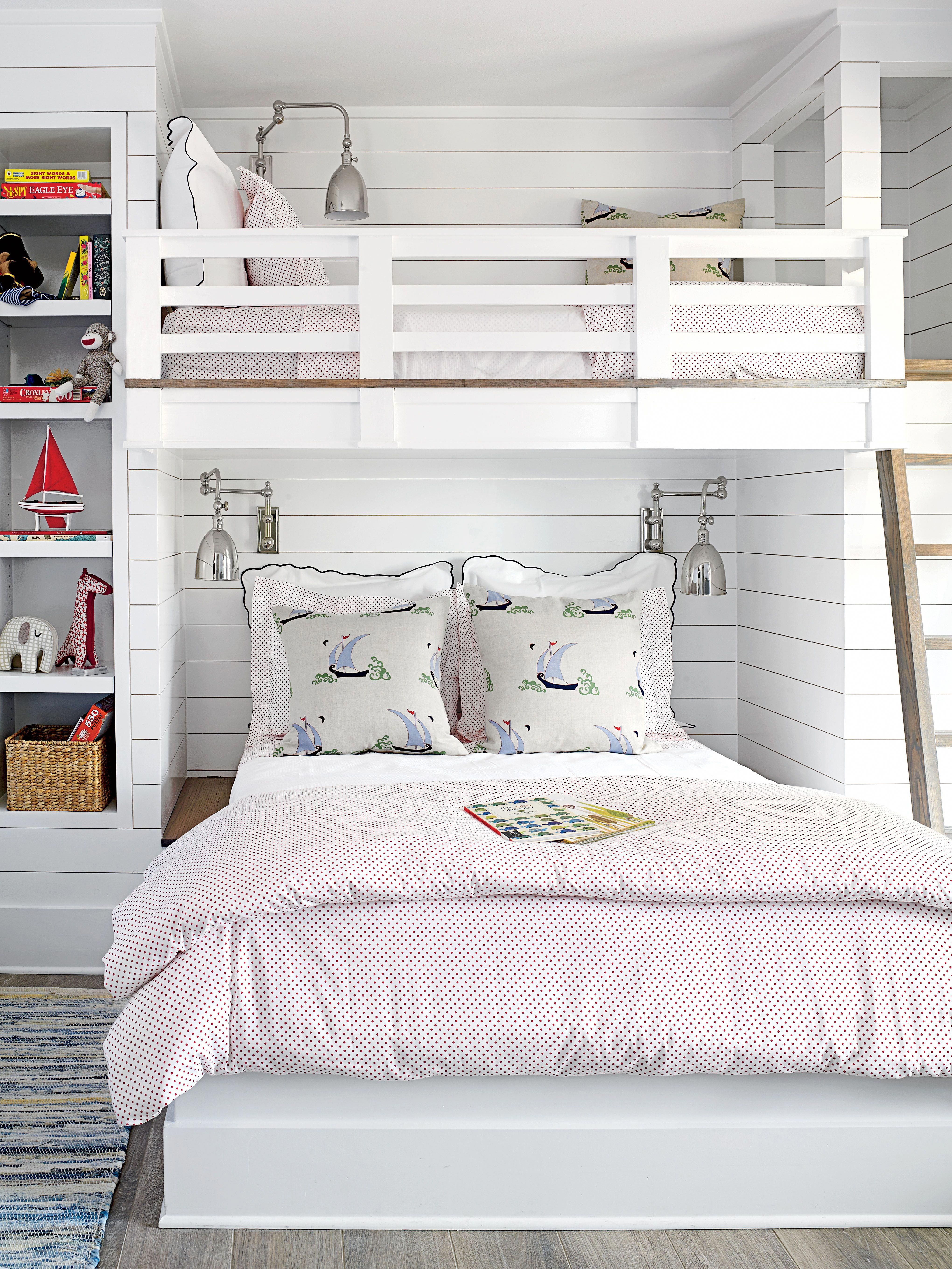 In A Small Room Dual Bunk Bed Makes E For The Whole Family Queen Size On Bottom And Twin Top Are Perfect Pair Guests