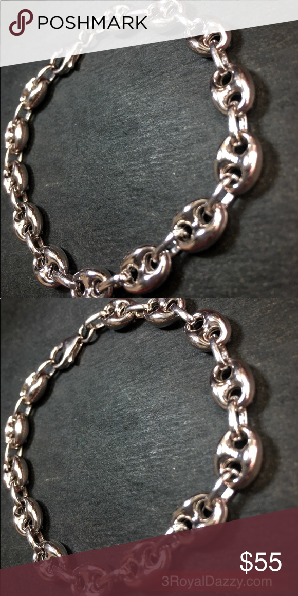 New Hollow Puffy Silver Gucci Link Chain Bracelet Boutique My Posh