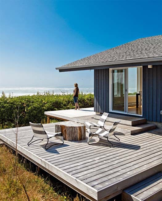 A Portland Beach House Deck Very Rustic Make Shift Table And Comfortable Contemporary Chairs An Amazing View