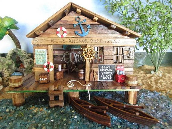 Fairy Garden Miniature Blue Anchor Boat House Fishing Dock Decor Accessories