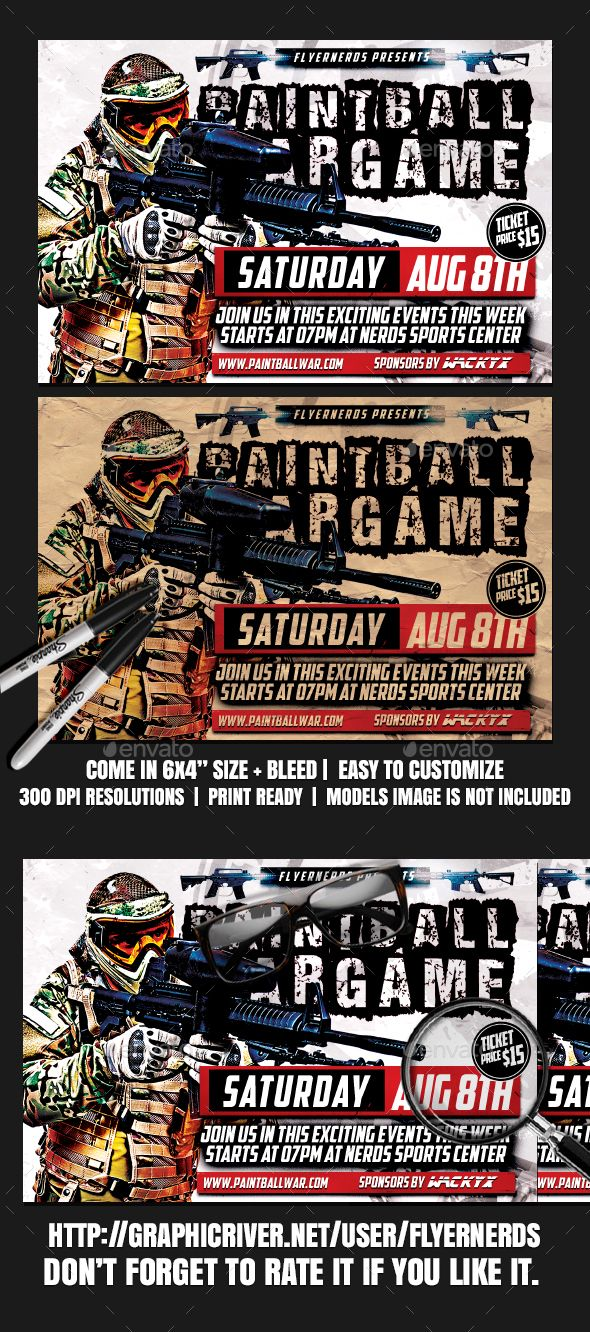 Paintball Wargame 2K17 Sports Flyer Paintball, Flyer template and