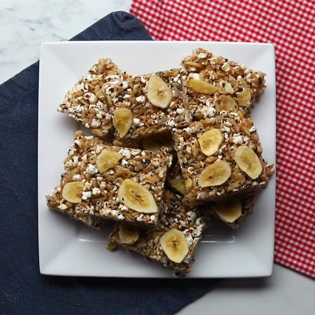 Banana coconut popcorn bars recipe by tasty recipe