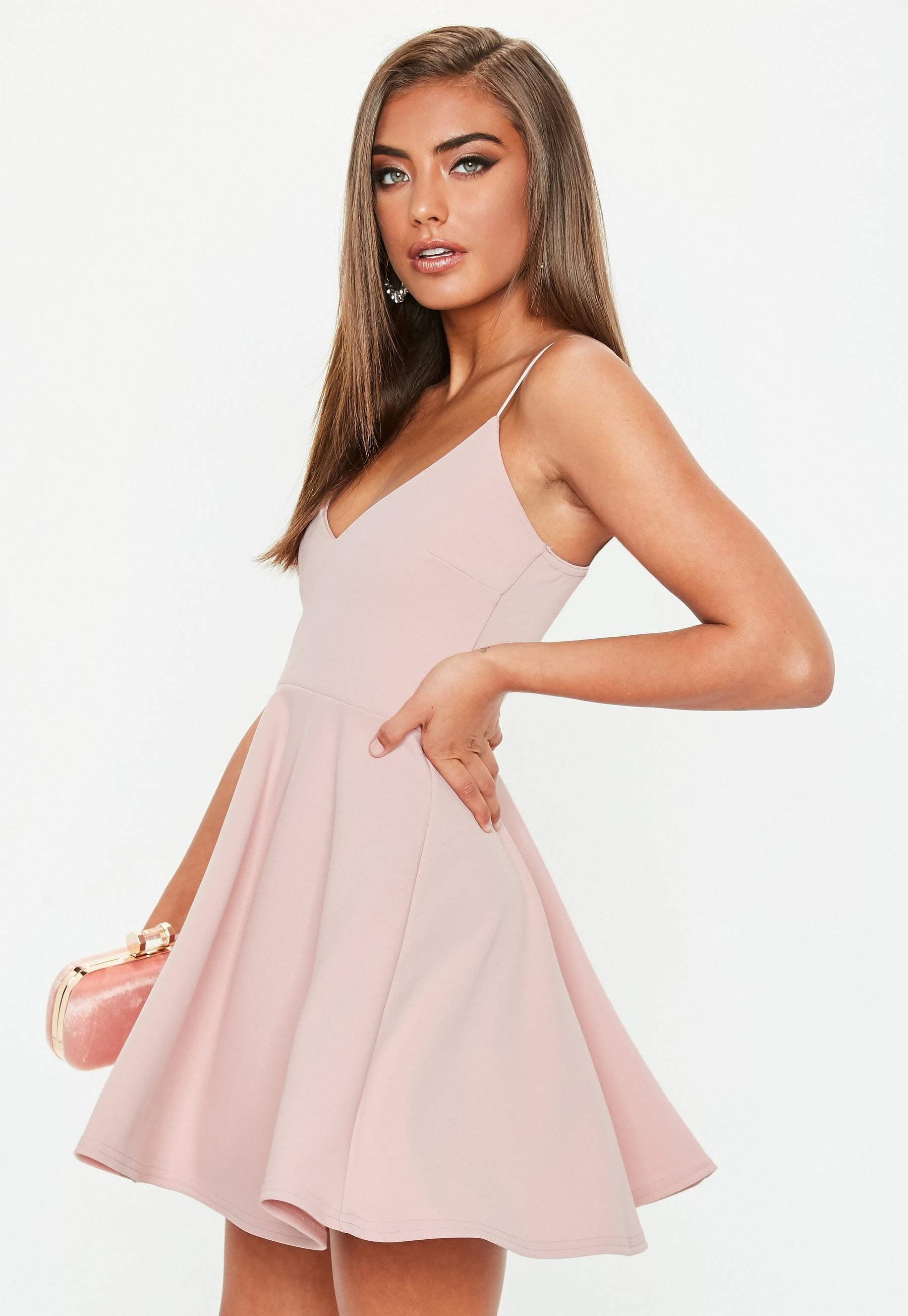 "Tall Pink Strappy Scuba Skater Dress - Simple dresses, Pink skater dress, Pink homecoming dress, Hoco dresses, Dresses, Dance dresses - Calling all taller ballers  Shop our missguided tall range, for babes 5""7 and over  a scuba skater dress in a pink hue and plunge front"