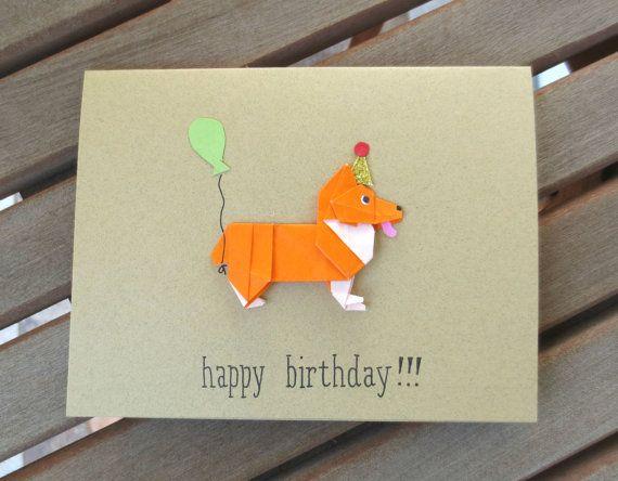 Dog Birthday Card Corgi Origami By FubiniCrafts 600