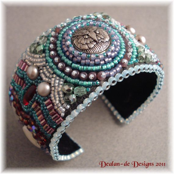 Snow Owl  Bead Embroidery Cuff Bracelet by DealanDeDesigns on Etsy, $125.00