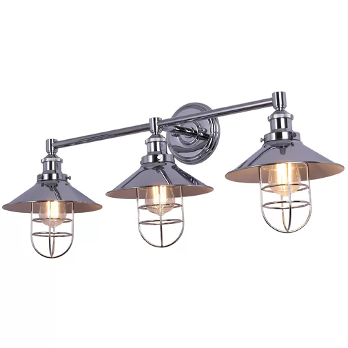 Sikes 3 Light Dimmable Vanity Light Vanity Lighting Wall Mount Light Fixture Polished Chrome