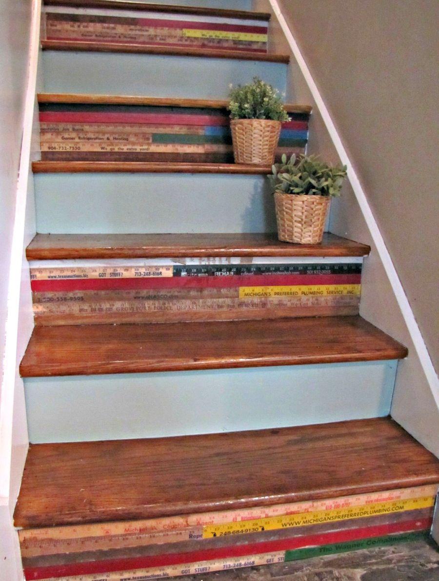 Decorated Stair Risers Yardsticks Purchased At A Flea Market. Stair Ladder  Design. Neutral Minimalist