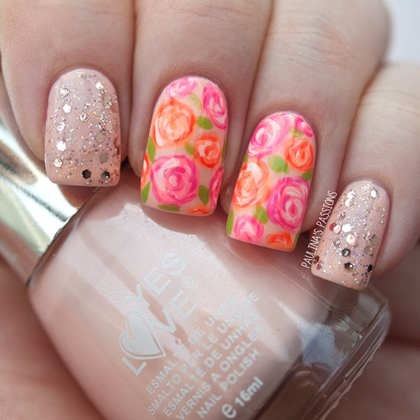 Pink and orange roses nails paulinas passions rose nails pink and orange roses nails paulinas passions prinsesfo Image collections