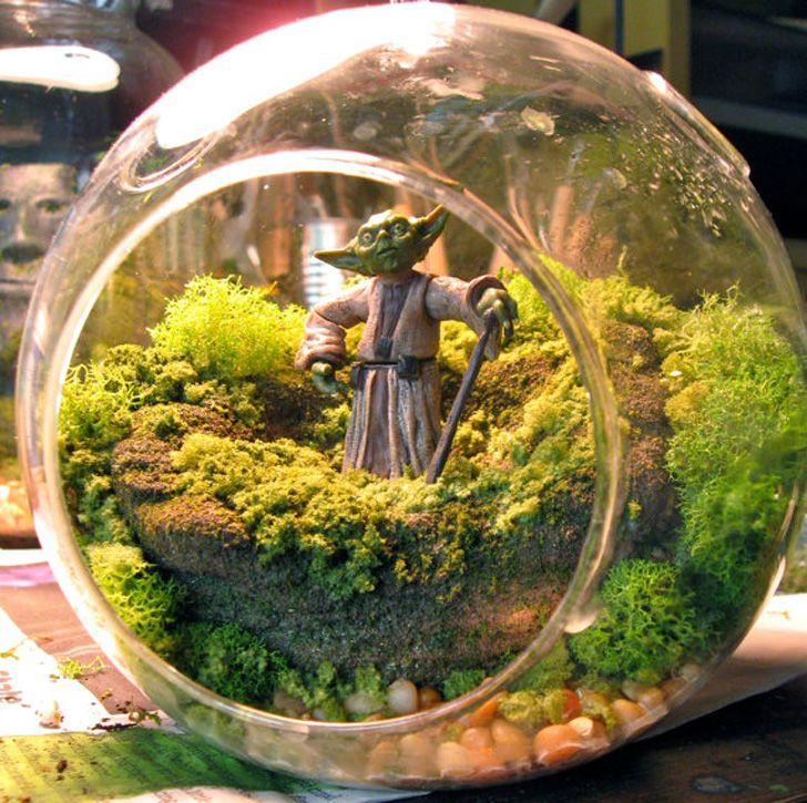 miniature star wars terrariums bring far away galaxies into your home kreativ pinterest. Black Bedroom Furniture Sets. Home Design Ideas