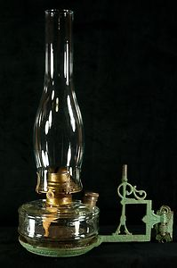 Antique Oil Hurricane Lamp with Cast Iron Wall Sconce, Queen Anne ...