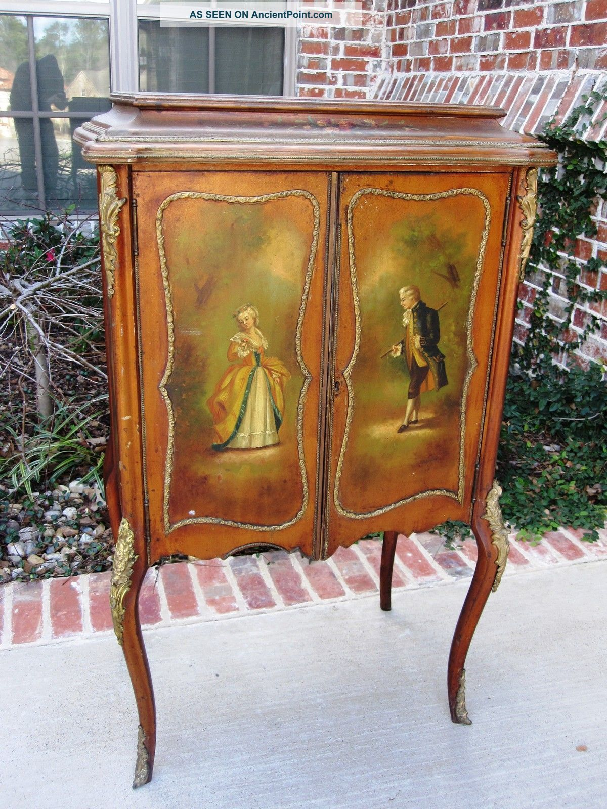 French Vernis Martin Painted Music Cabinet Ormolu Accent 19thc French Antiques Hand Painted Furniture Vintage Furniture