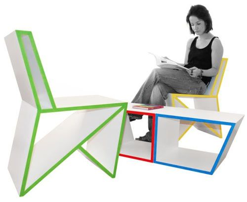 Dis(order) Furniture is a modular furniture system, designed by Sanjin Halilovic, that is multifunctional, adaptable, and most of all, playful and quirky. Geometric shapes make up each piece of white furniture trimmed in red, yellow, green, and black, making the shapes even more striking.