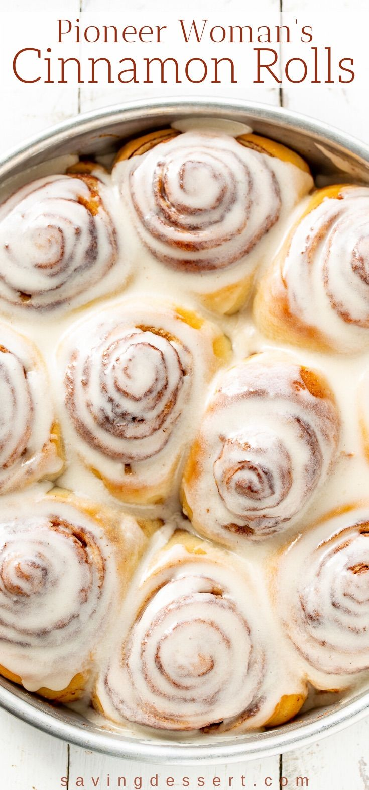 Pioneer Woman's Cinnamon Rolls with maple frosting. This delicious recipe makes a bunch of soft, tender, buttery sweet rolls so feel free to share with family and friends! #pioneerwomanscinnamonrolls #cinnamonrolls #reescinnamonrolls #baking #brunch #breakfast #yeastrolls #homemadecinnamonrolls #bestcinnamonrolls #makeaheadcinnamonrolls