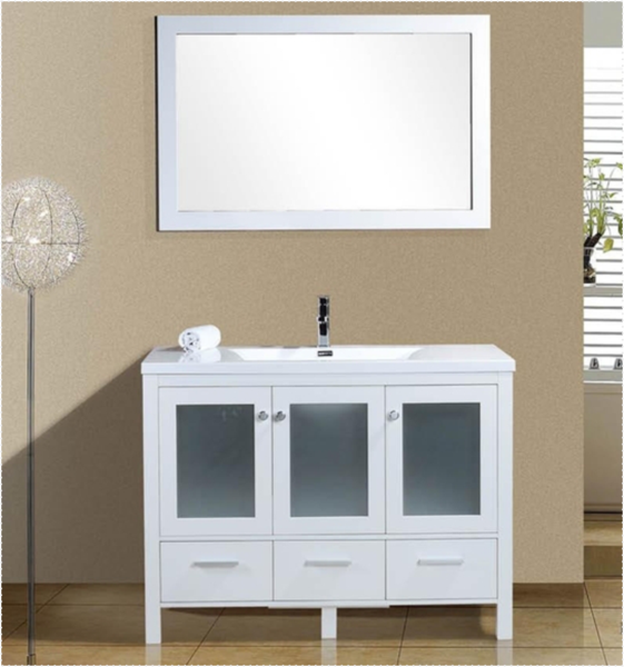 Brezza 48  White  Frosted Glass Bathroom Vanity   The Vanity Store Canada    48. Brezza 48  White  Frosted Glass Bathroom Vanity   The Vanity Store