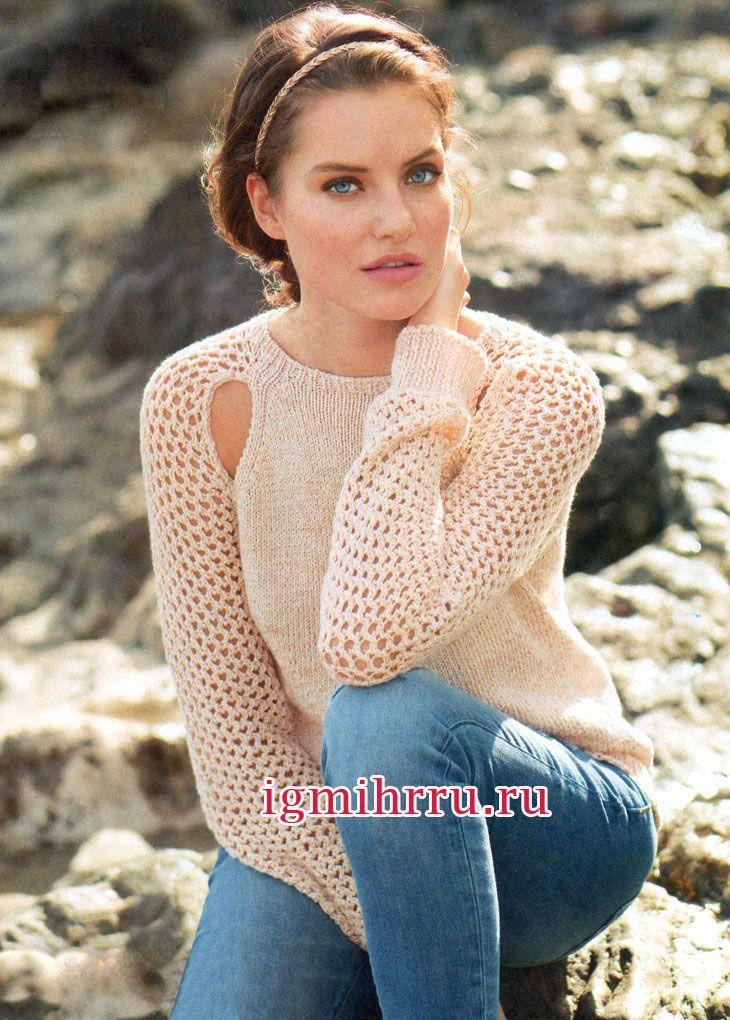 Вязание пуловеров с цветами 97