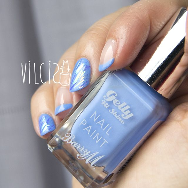 french manicure in blue and shattered glass easy nail design manicura francesa en azul - Manicura Francesa Facil