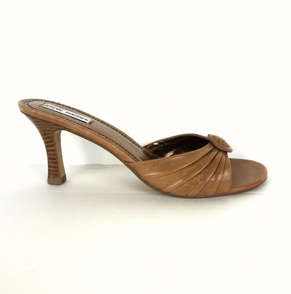77c2df7bfa4 Steve Madden Cate Heels Sandals 10 Shoes Brown Leather Buckle Slides Open  Toe  SteveMadden  OpenToe  Casual
