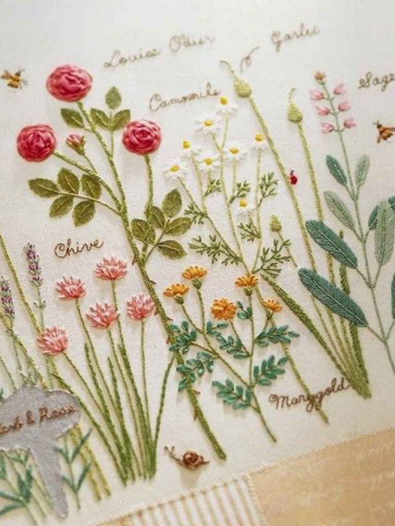 rose herb garden embroidery - Embroidery Garden