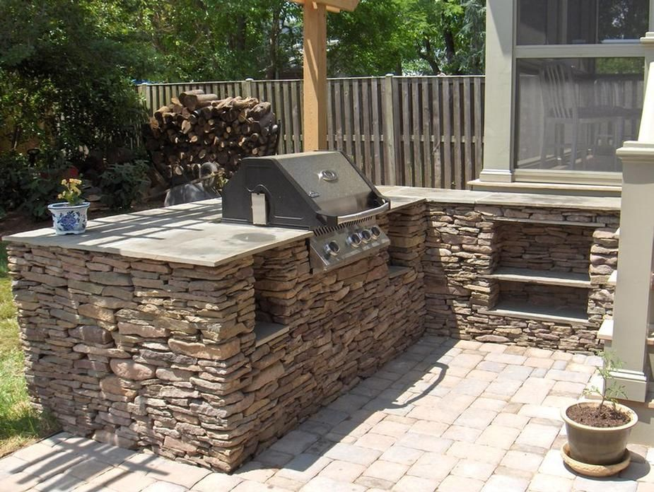 built-in stacked stone bbq grill 8\' - Google Search | Backyard ...