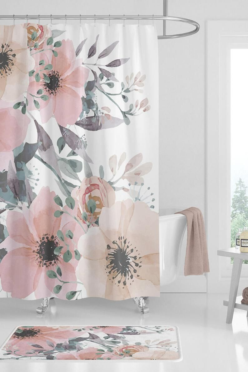 Shower Curtain Sets Floral Shower Curtain Etsy In 2020 Girl Bathrooms Floral Bathroom Floral Shower Curtains