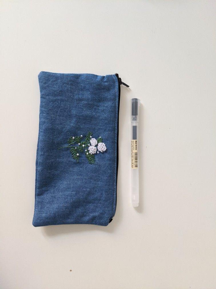 Project Bag Purse Organizer Pencil Pouch Handmade Quilted Zipper Pouch Make-Up Bag Cross Stitch Bag